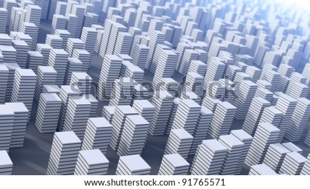 3D abstract future city background - stock photo