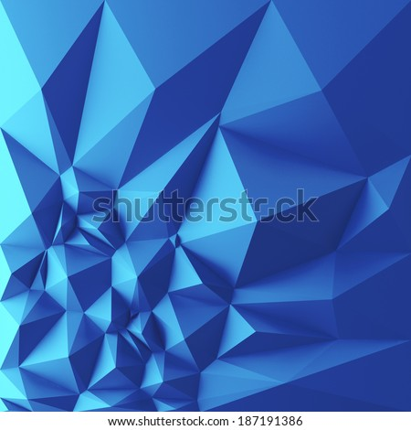 3d abstract geometric background, blue polygon shapes - stock photo