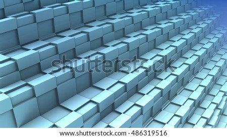 3D Abstract geometric shape from blue cubes, 3D illustration