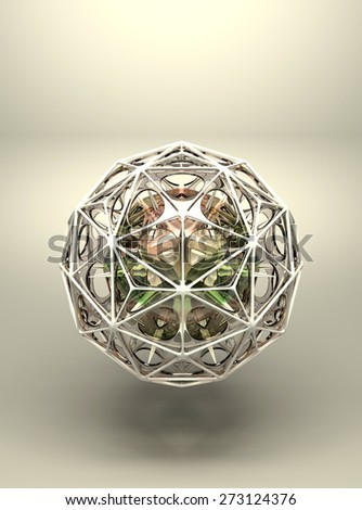 3d abstract geometric structure polyhedron - stock photo