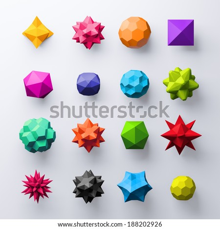 3d abstract geometrical colorful shapes, isolated faceted objects, gems and beads - stock photo