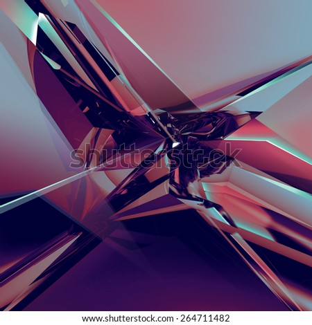 3d abstract glass texture, faceted crystal background - stock photo