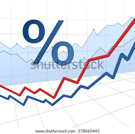3d abstract grid. Stock market investment trading growth chart illustration. Percent sign