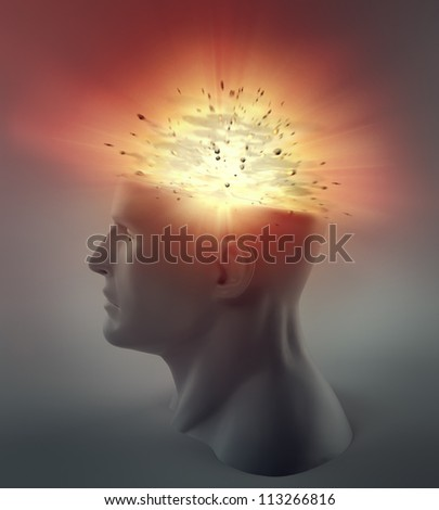 3D abstract illustration - exploding head - stock photo
