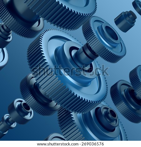 3d abstract metal gear wheels background, mechanical elements - stock photo