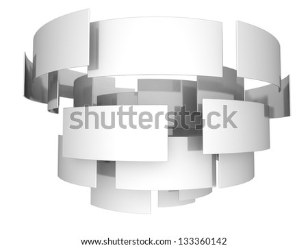 3d abstract metal shape - stock photo