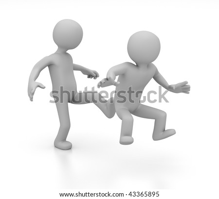 3D abstract of one character kicking another in the rear end - stock photo