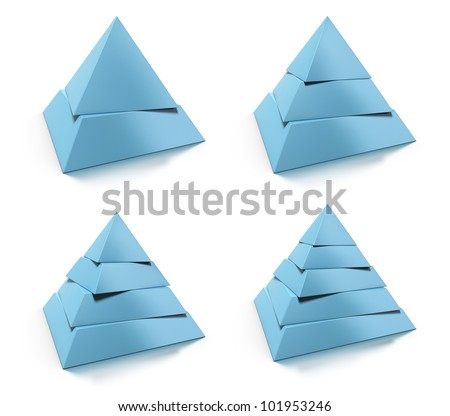 3d abstract pyramid set, two, three, four, five levels, blue tone over white background, design elements with reflection - stock photo