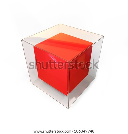 3d abstract red glass cube on white background