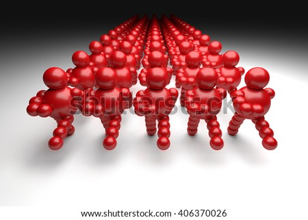 """3D abstract  red marching in military order """"Ballman"""" characters  - stock photo"""