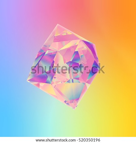 3d abstract refracting crystal shape. Clear colorful background in rainbow holographic style illustration.