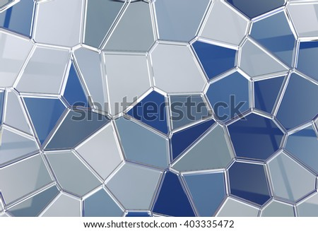 3D abstract render background in blue toned. Tile shine background tessellation - stock photo