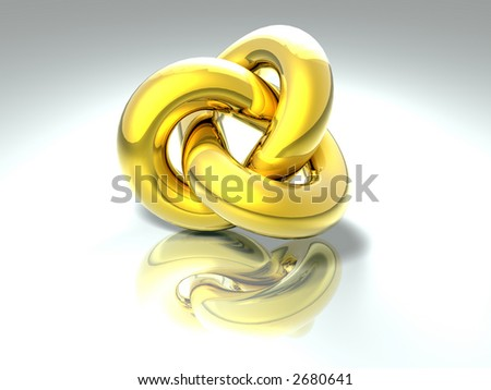 3D abstract rendered shape golden colors - stock photo