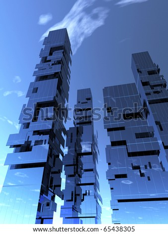 3d abstract skyscrapers - stock photo