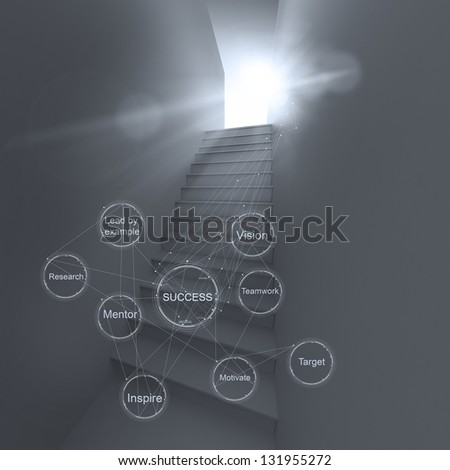 3d abstract stairway to success as business concept - stock photo