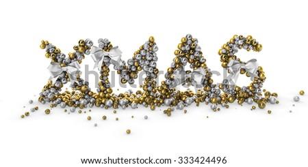 3D Abstract XMAS Christmas decoration Logo Illustration - stock photo