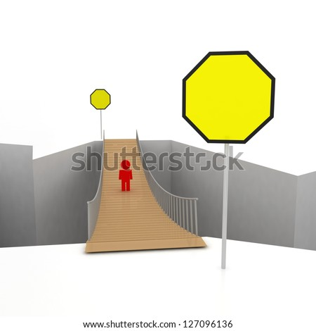 3d abyss with alone man standing on bridge. Choice concept - stock photo