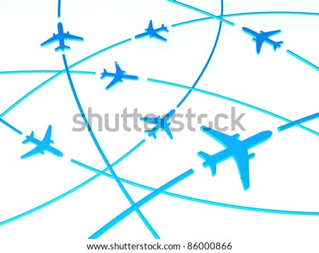3d Airplane Routes, white background - stock photo