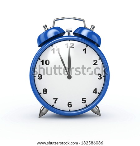 3d Alarm Clock Blue - isolated - stock photo