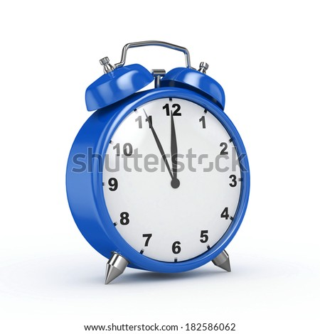 3d Alarm Clock Perspective Blue - isolated - stock photo