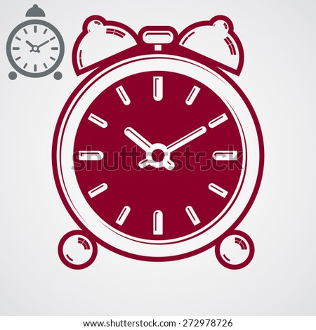 3d alarm clock with two symmetric bells. Wake up conceptual icon, additional version included. Graphic design element get up theme. Simple retro timer with clang bells. - stock photo