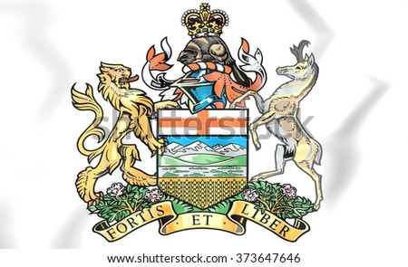 3D Alberta Coat of Arms, Canada. Close Up. - stock photo