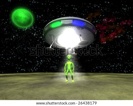 3D Alien with a UFO on green planet