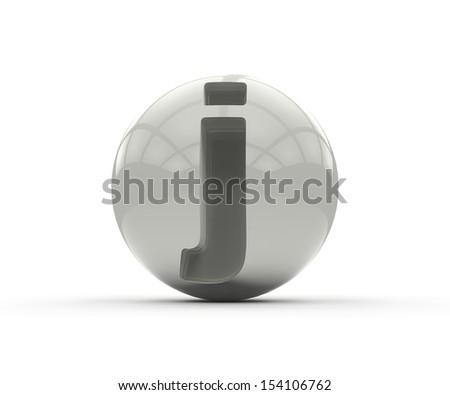 3D alphabet, spherical letter j isolated on white background - stock photo