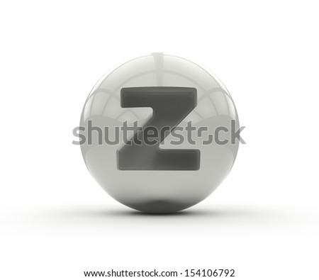 3D alphabet, spherical letter z isolated on white background - stock photo