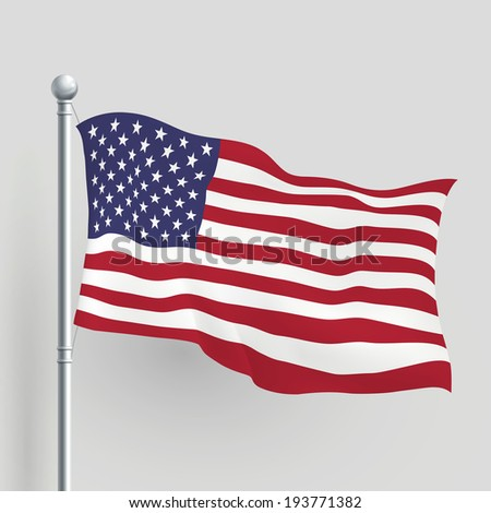 3d American flag blowing in a breeze