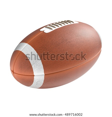 3D american football ball isolated on the white background without shadow. Rugby sport items.