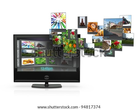 3d an illustration: the TV with pictures costs on a white background - stock photo