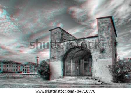 3D anaglyph scene of Verona, Italy. View with red/cyan glasses. - stock photo