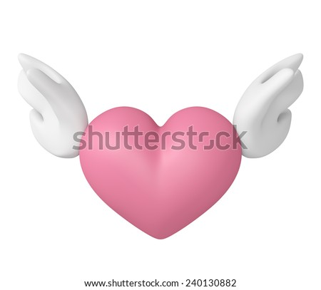 3D Angel Pink heart color with wings, Icon object front view isolated - stock photo