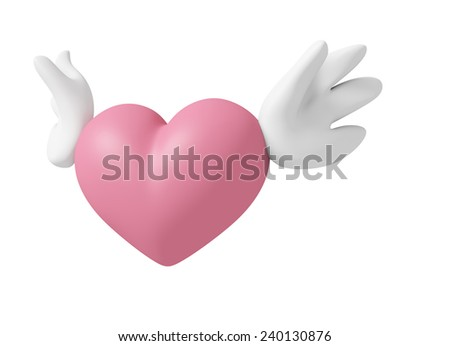 3D Angel Pink heart color with wings, Icon object isolated - stock photo