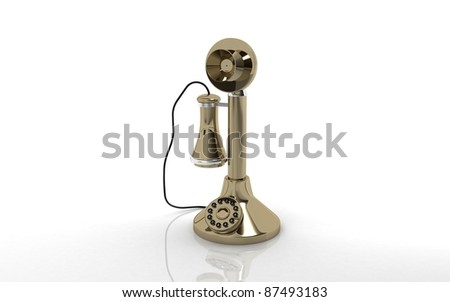 3D Antique Candlestick Telephone on a white background