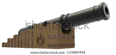 3d antique gun. white background - stock photo