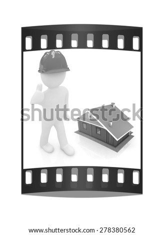 3d architect in a hard hat with thumb up with real plans. 3d image. Isolated white background. The film strip - stock photo