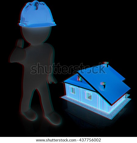 3d architect in a hard hat with thumb up with real plans. On a black background. 3D illustration. Anaglyph. View with red/cyan glasses to see in 3D. - stock photo