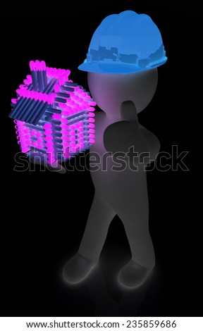 3d architect man in a hard hat with thumb up with log house from matches pattern. 3d image. Isolated on black background.  - stock photo