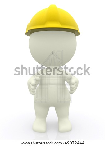 3D architect with a house sketch isolated over a white background - stock photo