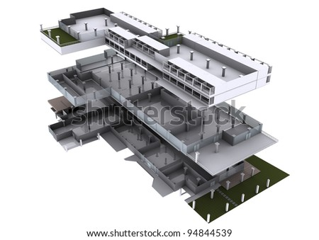 3d architecture exploded diagram,show an elements of architecture. - stock photo