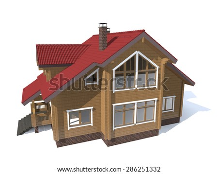 3D architecture wood model house  isolated in white
