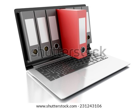 3d Archive concept. Laptop and files on isolated white background - stock photo