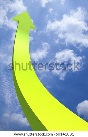 3D arrow going up - stock photo