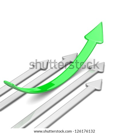 3d arrow. Green arrow leader, gray arrows behind. Business concept. Illustrations business and sport competition on the white background. arrow to the right, up. Background with space for your text