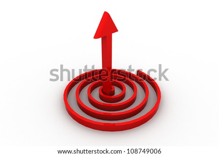 3D arrow pointing up in a spiral as a metaphor for business