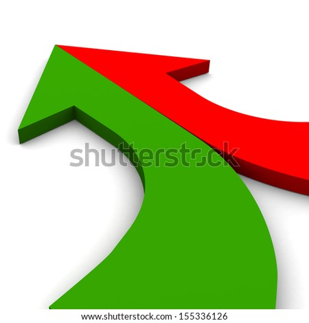 3d arrow red-and-green merging  - stock photo