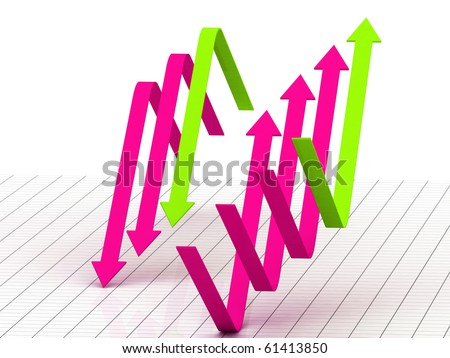 3d arrow showing two ways of business - stock photo