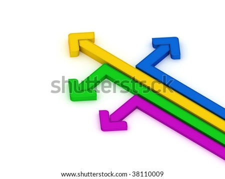 3d arrows isolated on wthite background